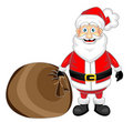 Cute happy looking santa claus standing with sack Royalty Free Stock Image