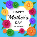 Cute Happy Mothers Day background in paper art style