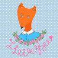 Cute happy woman fox. Print vector illustration Royalty Free Stock Photo