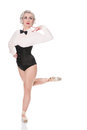 Cute happy young dancer in corset and bow tie, isolated on white Royalty Free Stock Photo