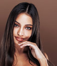 Cute happy young indian woman in studio close up happy smiling, fashion mulatto adorable smile, lifestyle people concept Royalty Free Stock Photo