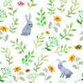 Cute hare animal, meadow flowers. Repeating watercolor ditsy pattern