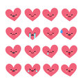Cute heart emoticons set.