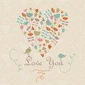 Cute heart with flowers and birds in cartoon style Royalty Free Stock Photo
