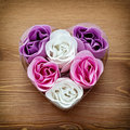 Cute heart made of fabric flowers symbol love Royalty Free Stock Photo