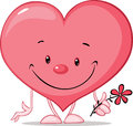 Cute heart valentine hold flower illustration - vector Royalty Free Stock Photo