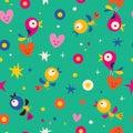 Cute hearts birds flowers seamless pattern Royalty Free Stock Photo