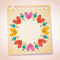 Cute hearts frame note paper cartoon illustration on Royalty Free Stock Images