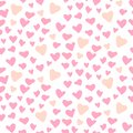 Cute hearts seamless vector pattern. Valentines Day pink background.