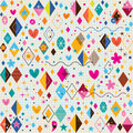 Cute hearts stars flowers and diamond shapes retro note book paper pattern Royalty Free Stock Photos
