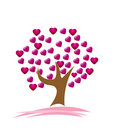 A cute hearts tree vector illustration Stock Image