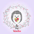 Cute hedgehog with present. Valentines day card