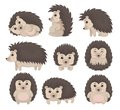 Cute hedgehog in various poses set, lovely prickly animal cartoon character vector Illustration on a white background