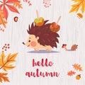 Cute hello autumn card