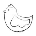 Cute hen drawing icon
