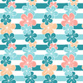 Cute hibiscus flowers on blue stripes background seamless pattern illustration Royalty Free Stock Photo