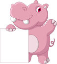Cute hippo cartoon with blank sign illustration of Royalty Free Stock Photo