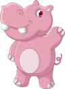 Cute hippo cartoon illustration of Royalty Free Stock Photos