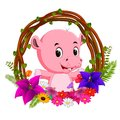 Cute hippo in root of tree frame with flower Royalty Free Stock Photo