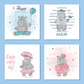 Cute Hippo vector illustrations. Set of birthday greeting cards