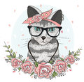 Cute hipster cat with glasses, scarf and flowers