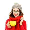 Cute Hipster Girl in Winter Clothes with Cup Royalty Free Stock Photo
