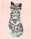 Cute hipster rockabilly cat with head scarf glasses and necklace postcar or poster with Stock Images