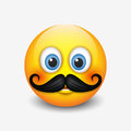 Cute hipster smiling emoticon, with mustache emoji, smiley - vector illustration