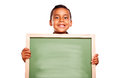 Cute Hispanic Boy Holding Blank Chalkboard Royalty Free Stock Photo