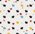 Cute holiday seamless pattern pigs on a pale background with snow and hearts. Royalty Free Stock Photo