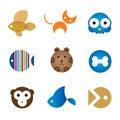 Cute home pet animals tips for happy family logo icon enjoy Stock Photos