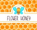 Cute honey label with happy smiling bee for food jar. Honeycomb banner. Vector cartoon flat