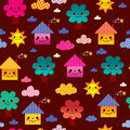 Cute houses and trees kids seamless pattern Royalty Free Stock Photo