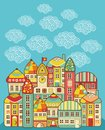 Cute houses vector cartoon town and clouds in the sky Stock Images