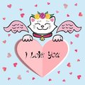 Cute I Love You Card with white Cat, pink wings, sweet heart.