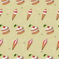 Cute ice cream and cake with cherry vector seamless pattern. Summer collection.