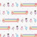 Cute ice cream character vector seamless pattern