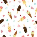 Cute ice cream and hearts seamless pattern