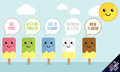 Cute ice lolly characters with speech bubble comments easy to customize text in the bubbles colors included pink green blue white Stock Images