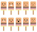 Cute ice lolly faces with expressions set of expression smilies Royalty Free Stock Image
