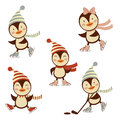 Cute ice skating penguins collection Royalty Free Stock Photos
