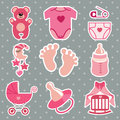 Cute  icons for newborn baby girl.Polka dot background Royalty Free Stock Photo