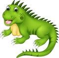 Cute iguana cartoon posing with laughing Royalty Free Stock Photo