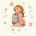Cute illustration ьom hugging their children