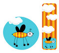 Cute illustration of bee and bookmark Royalty Free Stock Photo