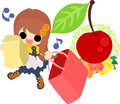 The cute illustration of cherry objects