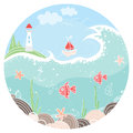 Cute illustration in circle with lighthouse, sailboat and fish on the seafloor. Colorful background
