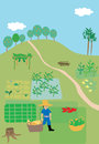 Cute illustration of farmer and his crops behind is the farm scenario with different kind of trees and agricultural products Royalty Free Stock Photography