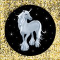 Cute illustration of grey unicorn with star and golden glitter background, Little magical unicorn on black and yellow gold,