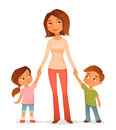 Cute illustration of a mother with two children cartoon young daughter and son Stock Photo